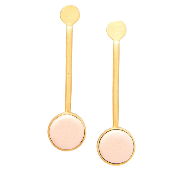"Ink + Alloy Earring | 2.5"" | Pendulum Blush Brass Ceramic"