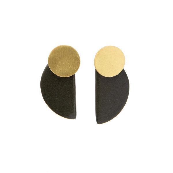 "Ink + Alloy Earring | 1.75"" | Half Circle Black Ceramic"