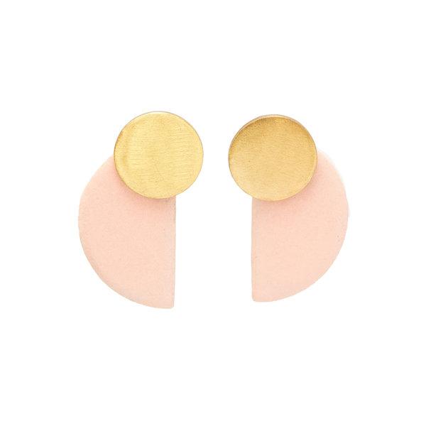 "Ink + Alloy Earring | 1.75"" | Half Circle Blush Brass Ceramic"
