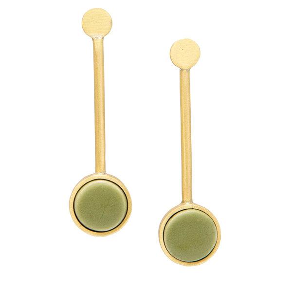 Ink + Alloy Earring | Pendulum | Olive Ceramic