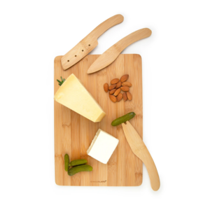 Kikkerland Cheese Board Set | Cut & Serve | Bamboo