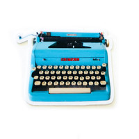 Fly Paper Sticker | Underwood Typewriter | Blue