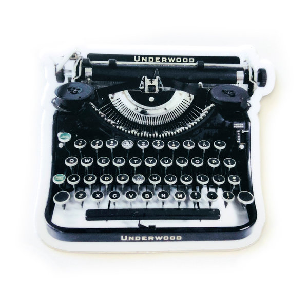 Fly Paper Sticker | Underwood Typewriter | Black