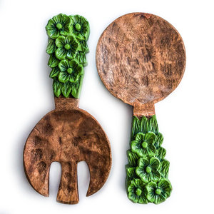 Creative Co-Op Salad Servers | Mango Wood | Green Floral Handle
