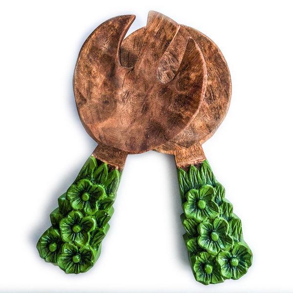 Creative Co-Op Salad Servers | Mango Wood | Green Floral Handle