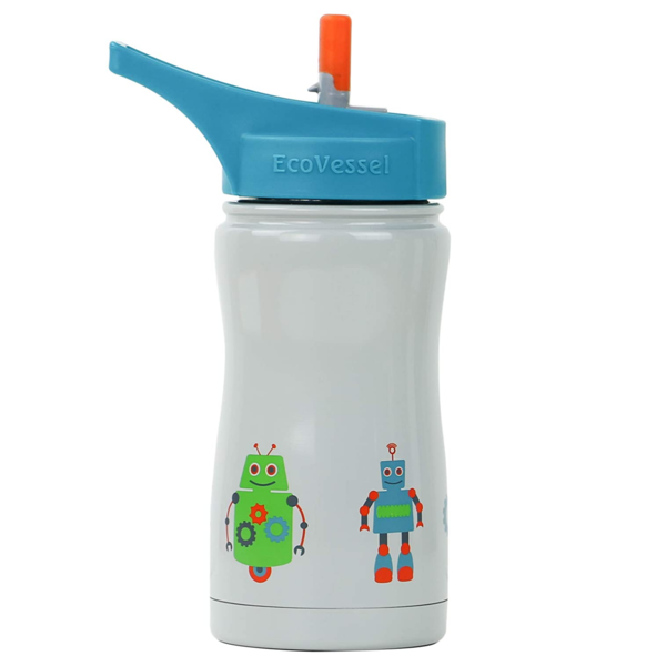 Water Bottle   Gray Robots   13oz