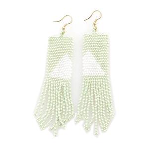 Earring | Seed Bead | Mint White Triangle