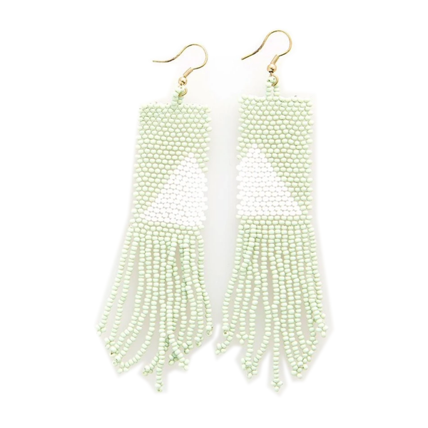 Ink + Alloy Earring | Seed Bead | Mint White Triangle