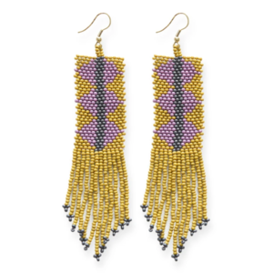Ink + Alloy Earring | Seed Bead | Citron Lilac Triangle