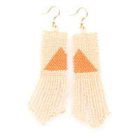 Ink + Alloy Earring | Seed Bead | Pink Orange Triangle
