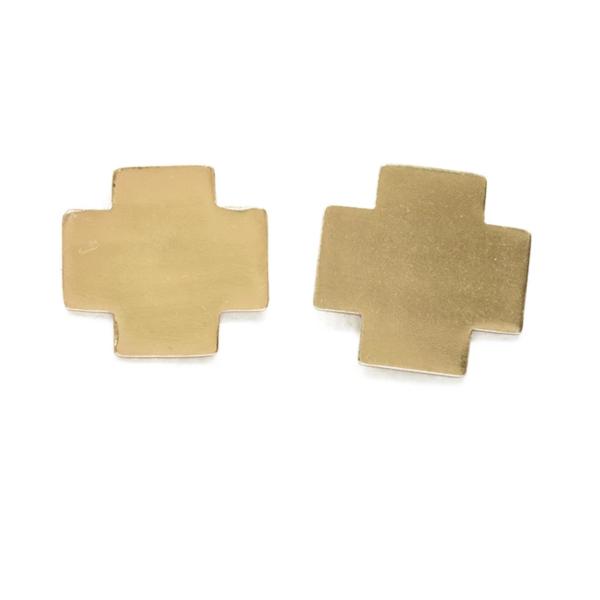 Ink + Alloy Earring   Brass Small Solid Cross