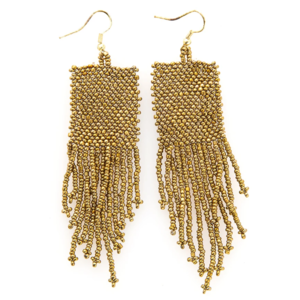 Ink + Alloy Earring | Seed Bead | Gold Solid