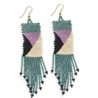 """Ink + Alloy Earring   Seed Bead Teal Ivory Lilac   3.75"""""""