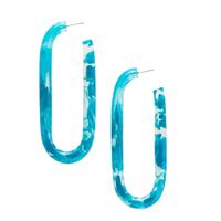 """Earring   2.75"""" Long Hoop   Blue Marble Acetate"""