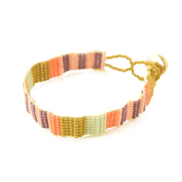 Ink + Alloy Bracelet | Petite Seed Bead | Citron Stripe