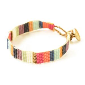 Ink + Alloy Bracelet | Petite Seed Bead | Multi Stripe