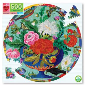 EEBOO Puzzle | 500PC Round | Bouquet & Birds