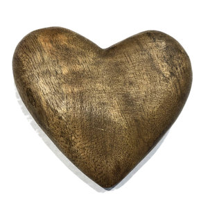 Creative Co-Op Wood Heart | Hand-Carved Mango