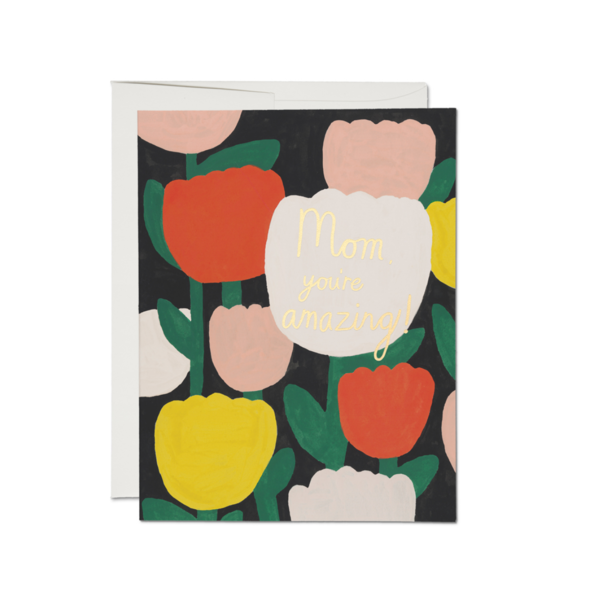 Red Cap Cards Card | Mother's Day | Amazing Tulips