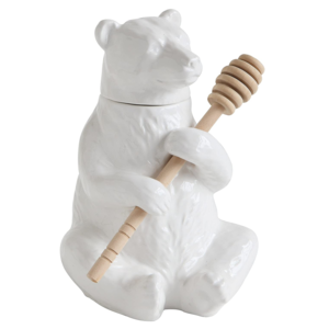 Creative Co-Op Honey Pot | Ceramic Bear & Bamboo Spoon