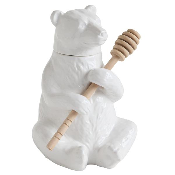 Honey Pot | Ceramic Bear & Bamboo Spoon