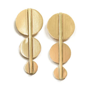 Ink + Alloy Earrings | Brass Bar And Circles