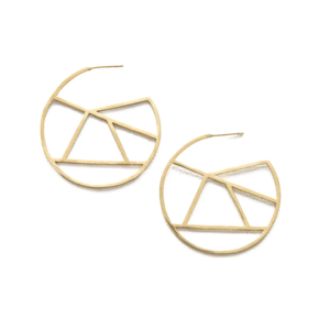 Ink + Alloy Earring | Stained Glass Brass Circle | Small