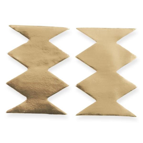 Earrings | Solid Brass Post | Zig Zag