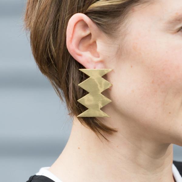 Ink + Alloy Earrings | Solid Brass Post | Zig Zag