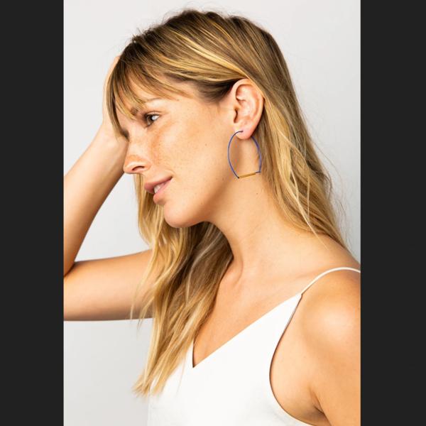 "Ink + Alloy Earring | 2.25"" LG Wire Hoop | Cobalt Brass"