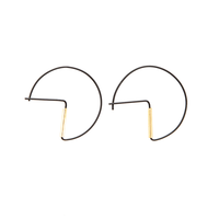 Ink + Alloy Earring | Small Hoop | Black Cut Circle+Brass
