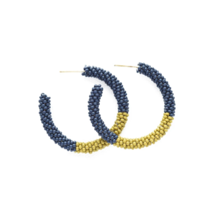 Ink + Alloy Earring |Small Hoop 1.25 | Navy Citron Color Block