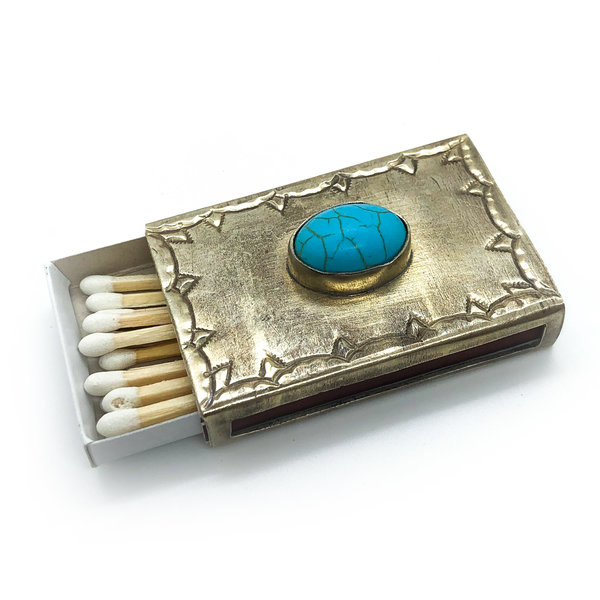 J. Alexander Rustic Silver Stamped Silver Matchbox Cover w/Turquoise Stone | Small