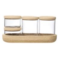 Creative Co-Op Cork Tray + Glass Jars | SET of 5