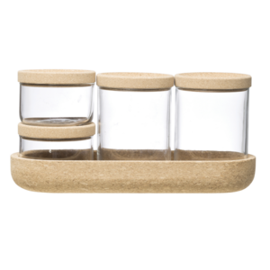 Cork Tray + Glass Jars   SET of 5