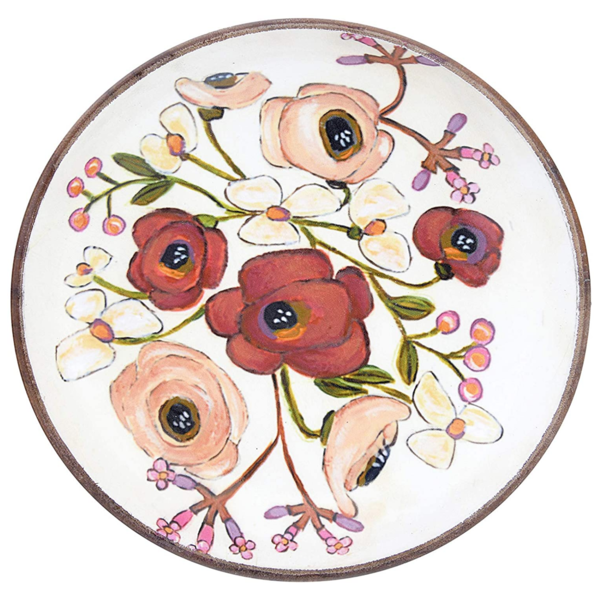 "Creative Co-Op Bowl | Enameled Acacia Flowers | 8"""