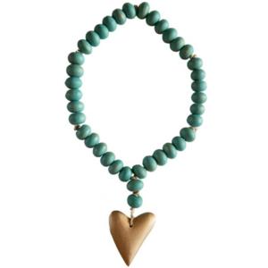 Creative Co-Op Bead Strand w/ Heart | Aqua Mango Wood