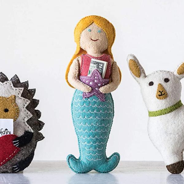 Creative Co-Op Tooth Fairy Pillow   Mermaid