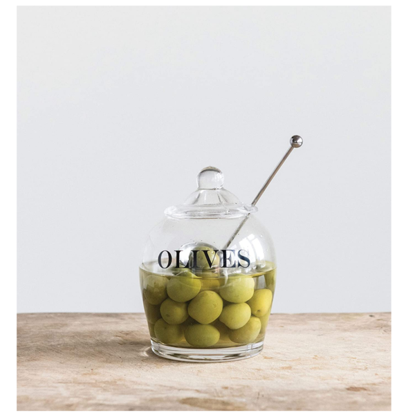 Creative Co-Op Olive Jar | Glass + Spoon