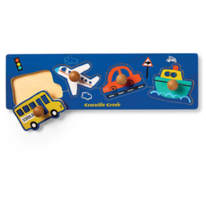Crocodile Creek Wood Knob Puzzle | 4pc | Vehicles