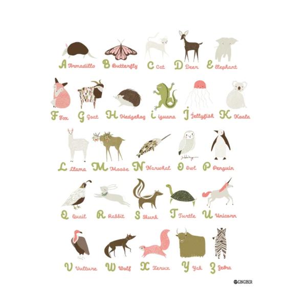 GINGIBER Art Print    Alphabet Poster