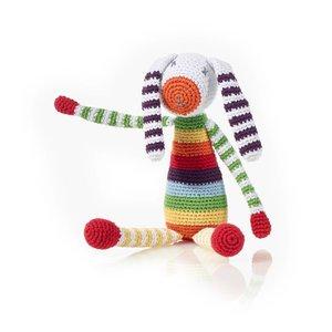 Pebble Crochet Rattle | Rainbow Bunny