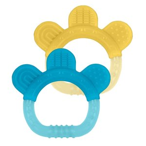 Green Sprouts Silicone Teether | 2pk | Aqua + Yellow