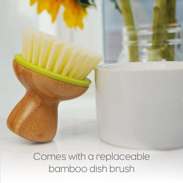 Ceramic Dish+Brush   White/Green
