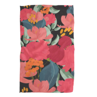 Geometry House Tea Towel | Microfiber | Pink Florals on Black