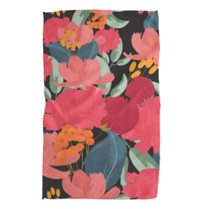Tea Towel   Microfiber   Pink Florals on Black