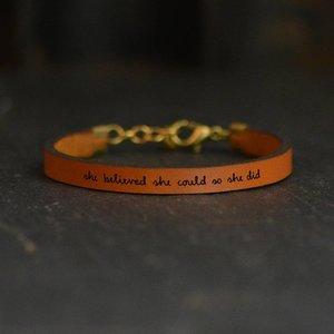 Bracelet | Brown Leather | Variety Script