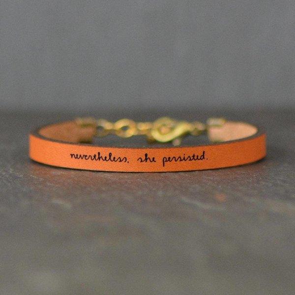 Laurel Denise LLC Bracelet | Brown Leather | Tiny Script