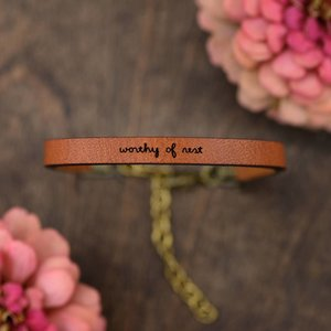 Laurel Denise LLC Bracelet | Brown Leather | Tiny Script