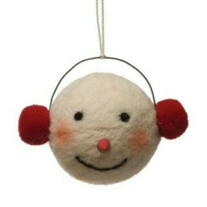 Creative Co-Op Ornament | Felt Snowman Head | 3.5""